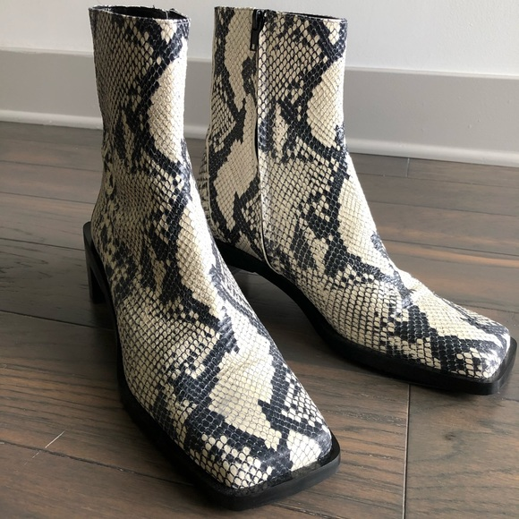 Zara Shoes | Leather Snakeskin Booties